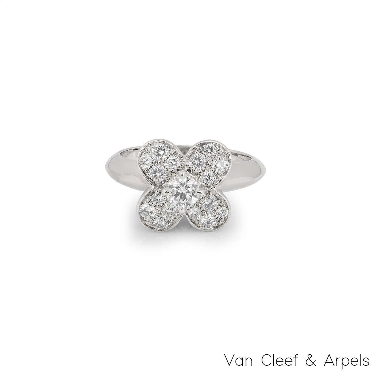Van Cleef & Arpels White Gold Diamond Trefle Ring